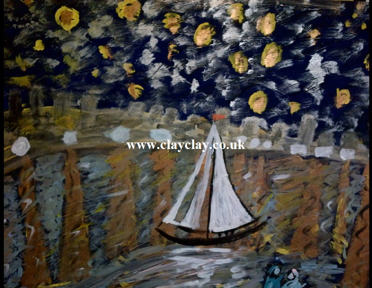 Starry Bembridge Harbour by BB Bango. Acrylic on canvas.  90*60cm £115. Also postcards available. This picture painted 8th April 2013 is influenced by Vincent Van Gogh.