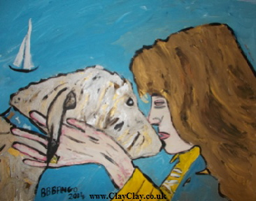 "'Dog and Lady'  by  BB Bango Acrylic 20*16""  on canvas board £125."