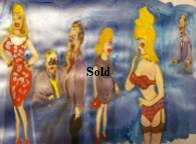 'Saucy Figures 9' by BB Bango to use in new Saucy Postcards acrylic A4 size on paper £40. On display Bembridge Shop