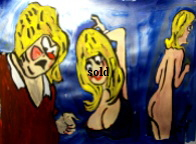 'Saucy Figures 10' by BB Bango to use in new Saucy Postcards acrylic A4 size on paper £40. On display Bembridge Shop
