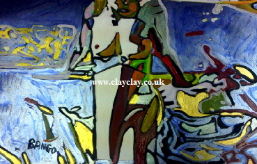 'Abstract Nude Sitting' by BB Bango. One of a selection of A4 sized acrylic on paper and framed original photo based paintings.  This picture was painted August 30th 2013 . Also on Saatchi Online web site at $120