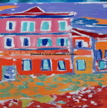 "'French House'   Painting by BB Bango in acrylic 30"" by 24"" £75 On display Bembridge shop"