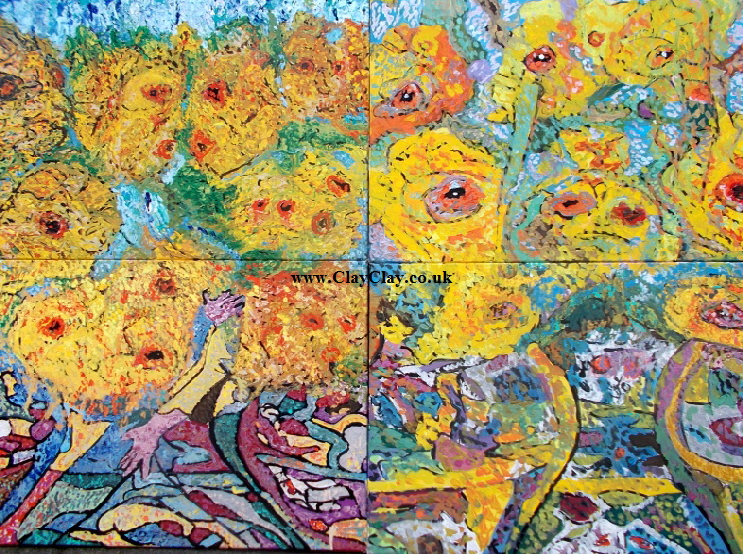 "'Sunflowers'  Painting by Vincent Van Bango in acrylic on 4 canvases of 36"" by 24"" making a total picture size of 72"" by 48"" £800."