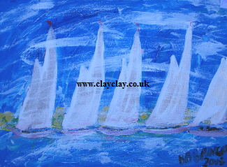 'Five Sails' 20 by  16 inches by BB Bango. July 15th 2015 Acrylic on canvas. On display Bembridge Shop £50