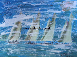 'Five Brown White Sails' 20 by  16 inches by BB Bango. July 31st 2015 Acrylic on canvas. On display Bembridge Shop £45