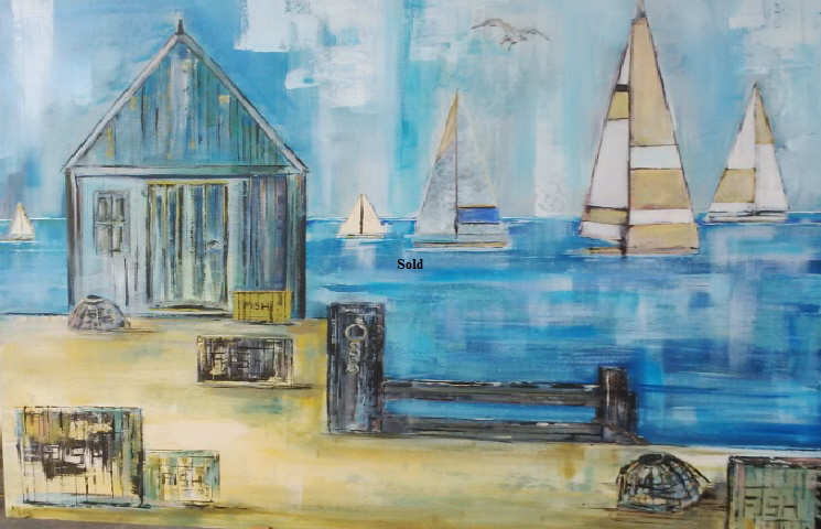 'Beach' by Maureen Lavery. 4ft by 3ft Acrylic on deep canvas £150 On display Big Art