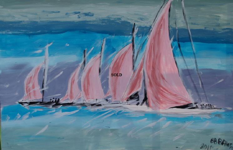 'Five Pink Sails' 30 by  40 inches by BB Bango. July 15th 2015 Acrylic on canvas. SOLD