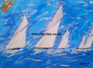 'Five White Sails' 20 by  30 inches by BB Bango. July 23rd 2015 Acrylic on canvas. On display Bembridge Shop £75