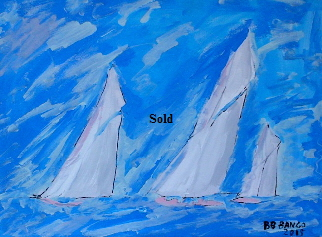 'Three White Sails' 20 by  16 inches by BB Bango. July 31st 2015 Acrylic on canvas. On display Big Art £75