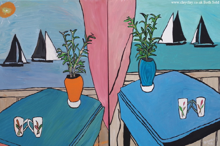 "Two paintings - 'Cornish sailing' by BB Bango Each painitng 32 by 40"" Acrylic on canvas £200 1 sold 1 available These pictures painted August 2016"