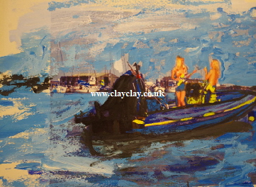 'Dance topless on a RIB' Photo painting A4 size £55 framed by BB Bango acrylic on paper. On display  Bembridge. Also postcards available. This picture painted August 2016 i