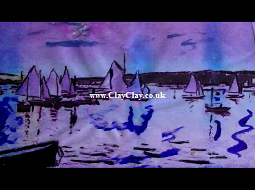 'Sails in Bembridge Harbour 1913' by BB Bango. One of a selection of A4 sized acrylic on paper and framed original photo based paintings £25. On display Bembridge shop. Also postcards available. This picture was painted mid May 2013 .