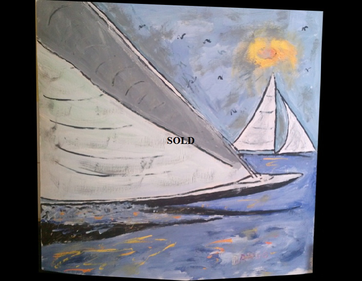 'Racing Yachts' by BB Bango. Acrylic on Card,  Framed and glass  70*60cm SOLD. Also postcards available. This picture was painted 2nd May 2013