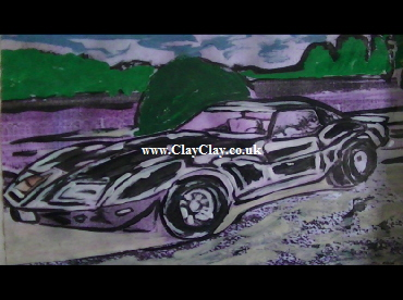 'Chevrolet Corvette Targa 1978' by BB Bango. One of a selection of A4 sized acrylic on paper and framed original photo based paintings £25. On display Bembridge shop. Also postcards available. This picture was painted mid May 2013 .