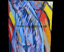'Colourful Nude' by BB Bango. Acrylic on canvas.  40*50cm £45. On display Bembridge shop. Also postcards available. This picture painted 3rd April 2013 is influenced by Ana Maria Edulescue.