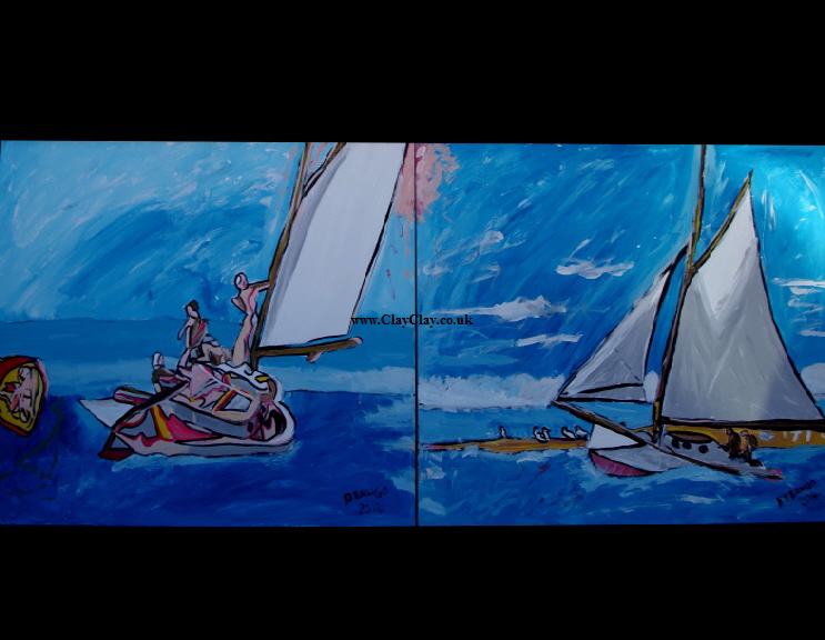 "'SaliHop1& 2'  Paintings by BB Bango in acrylic on canvas 40"" by 32""  £275 the pair . On display Big Art"
