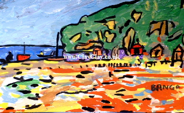 'Bembridge Beach.' A painting by BB Bango. A4 size Acrylic on paper. On display in Shop.