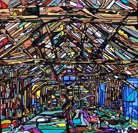 'Dutch Barn 2' by  BB Bango. One of a series of large canvases depicting Barns with many hidden images. Acrylic on canvas.  900 by 1200mm. Also postcards available. This picture was painted in January 2014  and is on display at Big Art £600 .