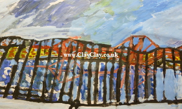 'Forth Bridge.' A painting by BB Bango. A3 size Acrylic on paper. On display in Shop.