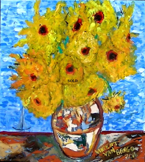 "'Wight Sunflowers 2' 20 by 16"" acrylic on canvas board Painting by Vincent Van Bango. SOLD"