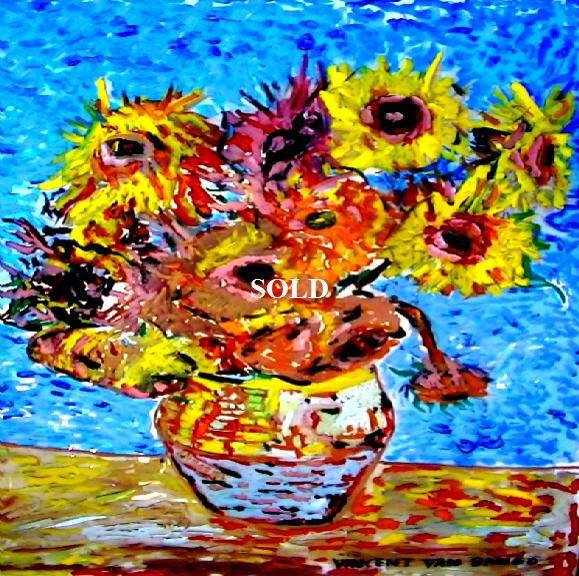 'Sunflowers' by Vincent Van Bango' Acrylic on glass. framed   70*60cm  SOLD. Also postcards available. This picture was painted 7th May 2013
