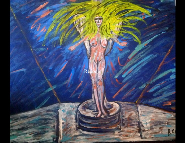 'The Flying Lady' by BB Bango. Acrylic on canvas.  90*60cm £85. On display Big Art. Also postcards available. This picture painted 8th April 2013 is based on an 'EspadaRolls' Glamour model photo shoot for the 'Tacky..... Original Music' music videos and depicts a series of nude models posing as  the Flying Lady on a Rolls Royce bonnet