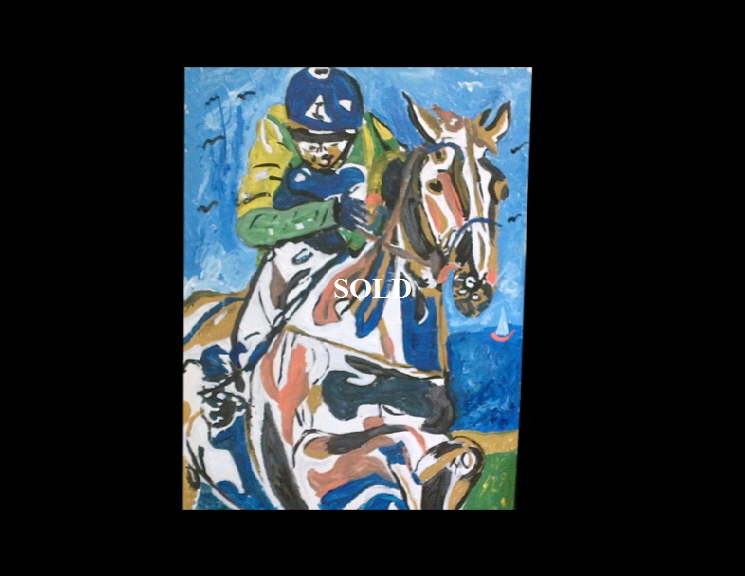 'Horse' by BB Bango. Acrylic on paper  framed 45*30cm SOLD.  Also postcards available. This picture painted 16th April 2013 . Influenced by 'RW Armstrong'