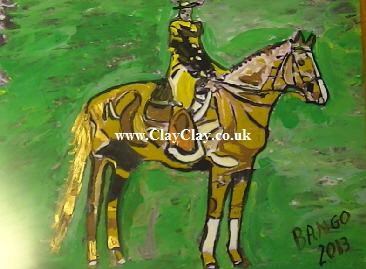 'Horse and Rider?' by BB Bango. One of a selection of A4 sized acrylic on paper and framed original photo based paintings £40. On display Bembridge shop. Also postcards available. This picture was painted mid May 2013 .