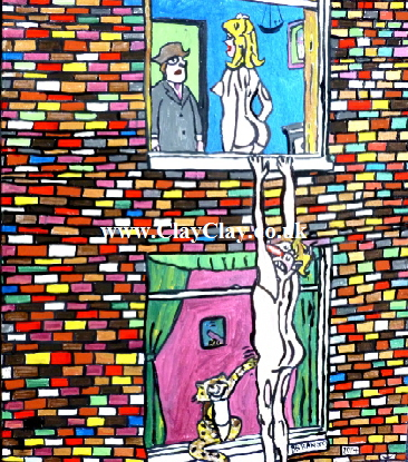 "Saucy. 'Man hanging from window.' A painting by BB Bango. 20 by 24"" Acrylic on canvas Board. to be Resold as too saucy. £125"