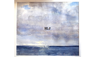 'Lone Sail' by watercolour artist Harry Lawson Johnston. Watercolour on Paper 20 by  15 inches . Framed £350.