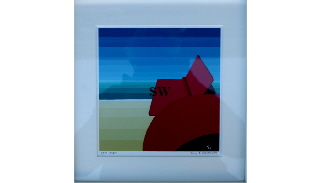 'Red Buoy ' by Suzanne Whitmarsh Print 5/100 Signed and framed 21 by 21cm £50. On display ClayClay shop.