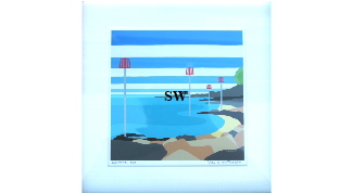 'Seagrove Bay ' by Suzanne Whitmarsh Print 5/100 Signed and framed 21 by 21cm £50. On display ClayClay shop.
