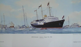 'HM Britannia  off Cowes 1996' Signed limited edition Print by MG Pearson.  Unframed 47*28cm £50. On display ClayClay shop. Postcard also Available.