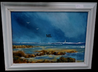 IW Artist Maureen Lavery. This is  one of a selection of  acrylic original artworks most framed but different sizes and priced from £50- £250 on display at Big Ar