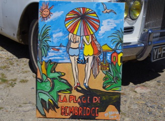 La plage de Bembridge 20 by 30 inches by BB Bango. July 2nd 2015 Acrylic on canvas. Two versions one On display Bembridge Shop Both Sold from Big Art