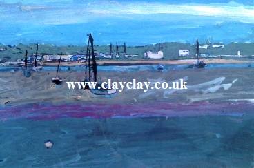 'Bembridge Harbour June 1st 2013' by BB Bango. One of a selection of A4 sized acrylic on paper and framed original photo based paintings £40. On display Bembridge shop. Also postcards available. This picture was painted 1st June 2013 .