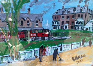 'Rail in Bembridge 1933' by BB Bango. One of a selection of A4 sized acrylic on paper and framed original photo based paintings £40. On display Bembridge shop. Also postcards available. This picture was painted late May 2013 .