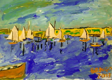 'Sailing Bembridge' by BB Bango. One of a selection of A4 sized acrylic on paper and framed original photo based paintings £40. On display Bembridge shop. Also postcards available. This picture was painted late May 2013 .