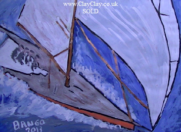'Big Sail' by BB Bango. One of a selection of A4 sized acrylic on paper and framed original photo based paintings SOLD. Also postcards available. This picture was painted late May 2013 .