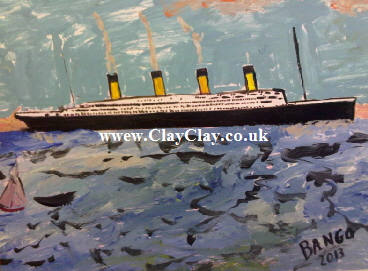 'Titanic' by BB Bango. One of a selection of A4 sized acrylic on paper and framed original photo based paintings £40. On display Bembridge shop. Also postcards available. This picture was painted mid May 2013 .