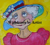 'Dear in a hat' by Kate Gooden Acrylic Original on box canvas 20*20cm £40. On display ClayClay shop.