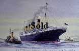 Titanic Southampton Water 10th April 1912. Original Watercolour Unframed 23*17cm £100. On display ClayClay shop. Postcard also Available.