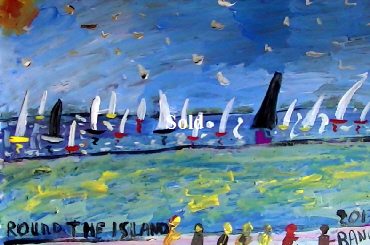 'Round the Island Race 2013' by BB Bango. One of a selection of A4 sized acrylic on paper and framed original photo based paintings £40. On display Bembridge shop. Also postcards available. This picture was painted June 2013 .
