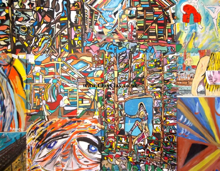 "'BarnartBango'   Massive compilation Painting by BB Bango on 10 canvases in acrylic 60"" by 48"" £425 On display Bembridge shop"