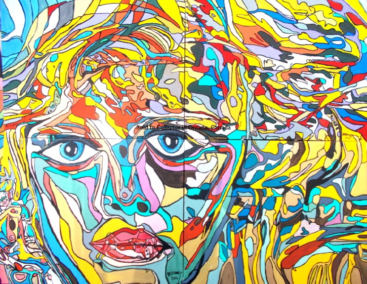 'Eyes'  Painting by BB Bango in acrylic 8 ft by 6ft  on 4 canvasses.  Sold December 2018.o collector in Ontario via Saatchi Online web site .This picture was submitted to the Royal Academy Summer Exhibition 2015  but not shortlisted