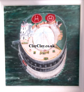 no Mans Fort Acrylic varnished on 78*59 cm Canvas and Wide White frame. Mike Miller Seaview Based Artist in many mediums onto canvas, card and terracotta.