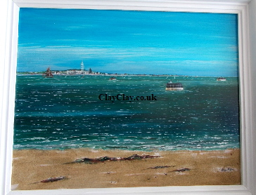 Solent Forts Acrylic varnished on 50*40 cm Canvas and Wide White frame. Mike Miller Seaview Based Artist in many mediums onto canvas, card and terracotta. On display in Bembridge shop. £270