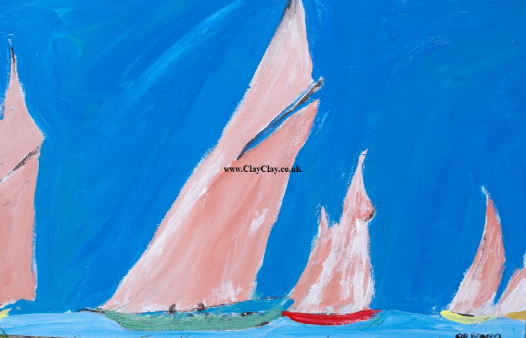 'Five Pink Sails Just' 20 by  30 inches by BB Bango. March 20th 2016 Acrylic on canvas.  £100