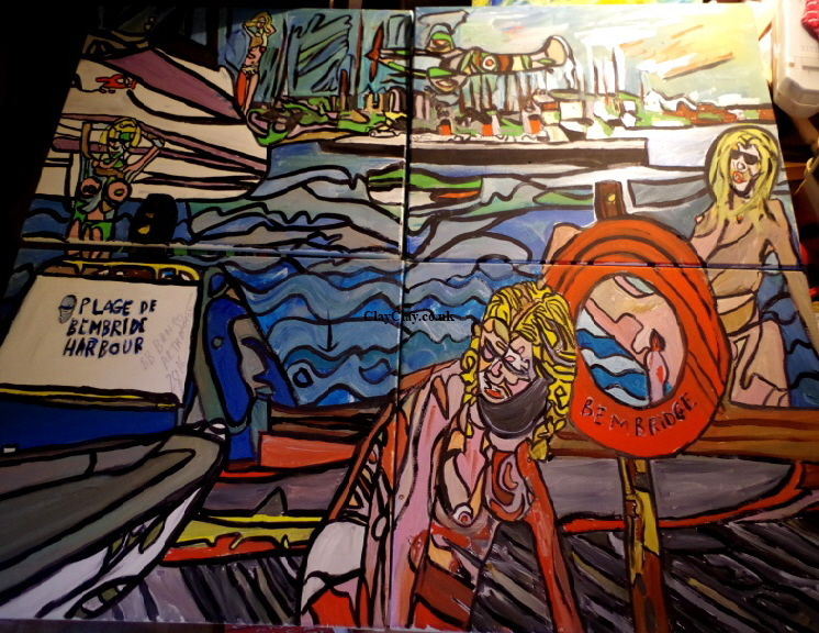 'Harbour'  by BB Bango 100 by 120 cm on four canvasses. Acrylic on canvas  This picture painted October 2016. Finished March 2018.  £300