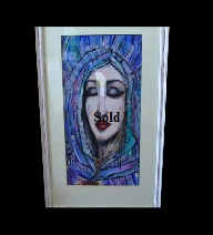 Maureen Lavery. 'Eyes Shut'. Acrylic on Board . 34 by 27cm . Framed and glass £85. On Display Bembridge Shop.